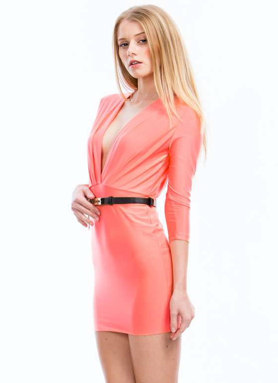 Take The Plunge Belted Mini Dress CORAL