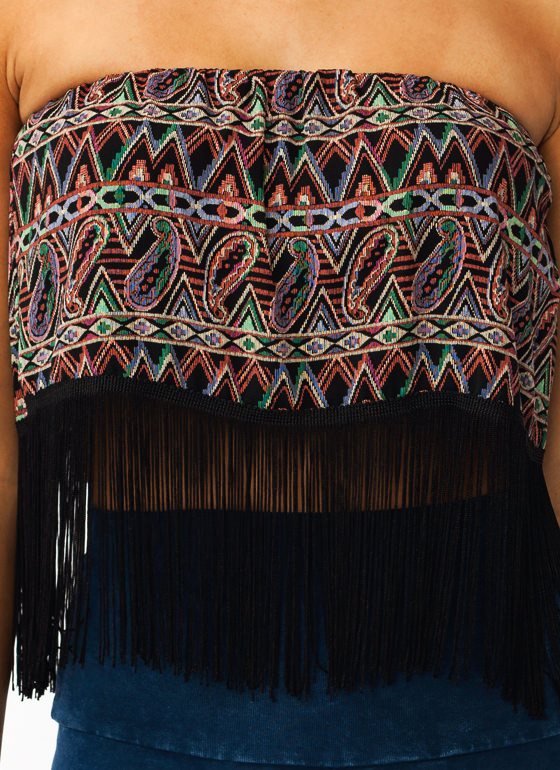 Tribal Paisley Fringe Top GREENBLACK