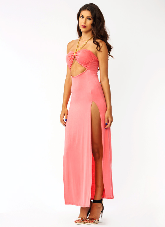 Strike A Cord Slit Maxi Dress PEACH