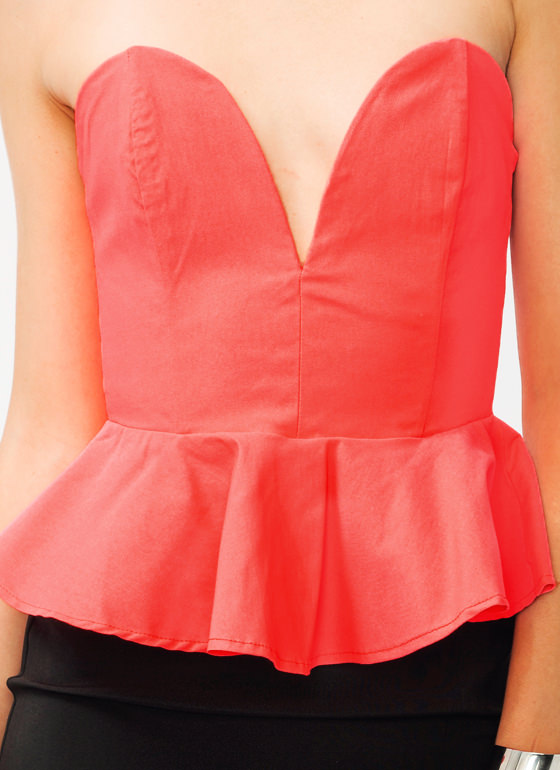 Sweetheart Peplum Top NEONCORAL