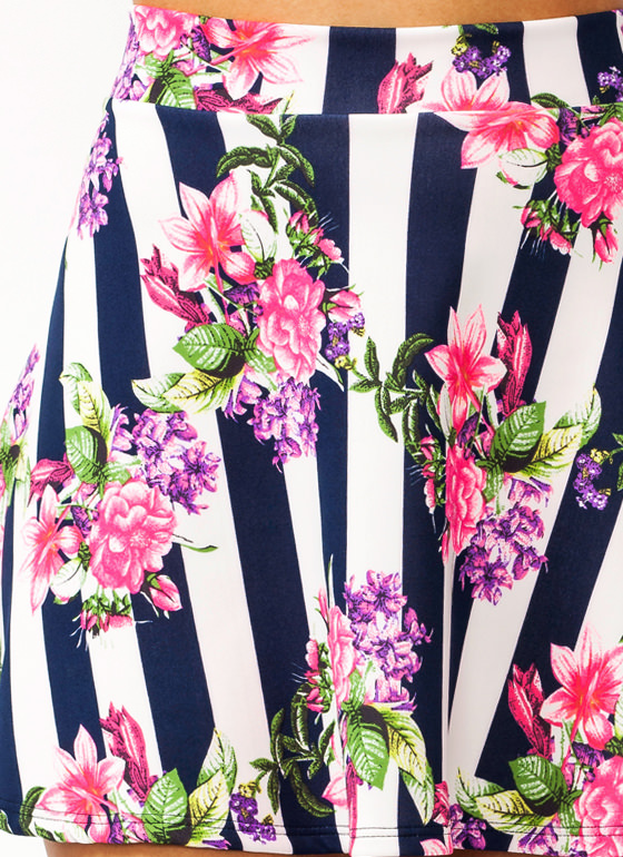 In Bloom Striped Skater Skirt NAVYPINK