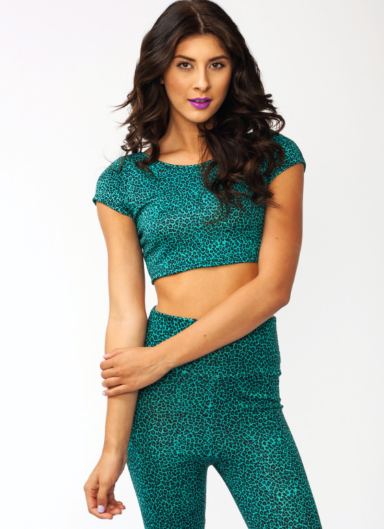 Feline Good Leopard Crop Top GREEN