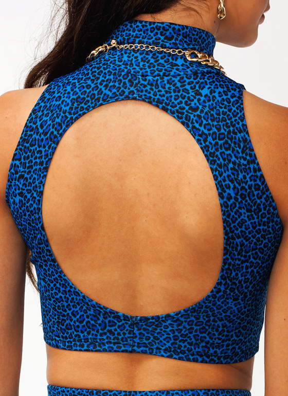 Feline Good Leopard Crop Tank BLUE