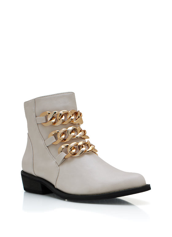 Chunky Chain Cowgirl Boots BEIGE