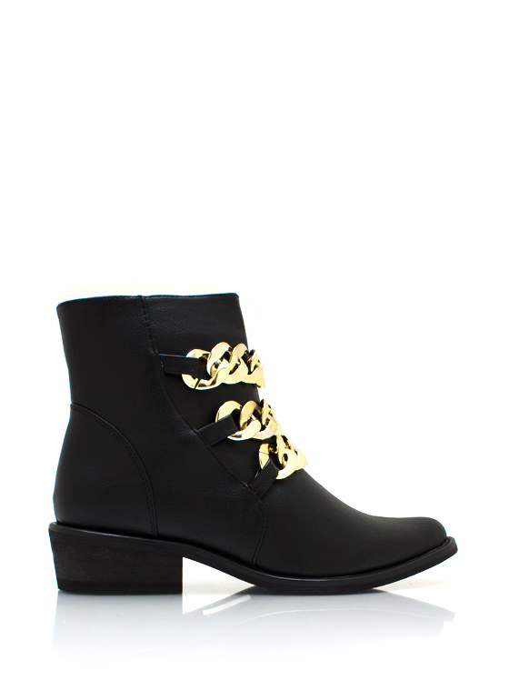 Chunky Chain Cowgirl Boots BLACK