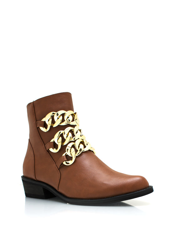 Chunky Chain Cowgirl Boots CHESTNUT