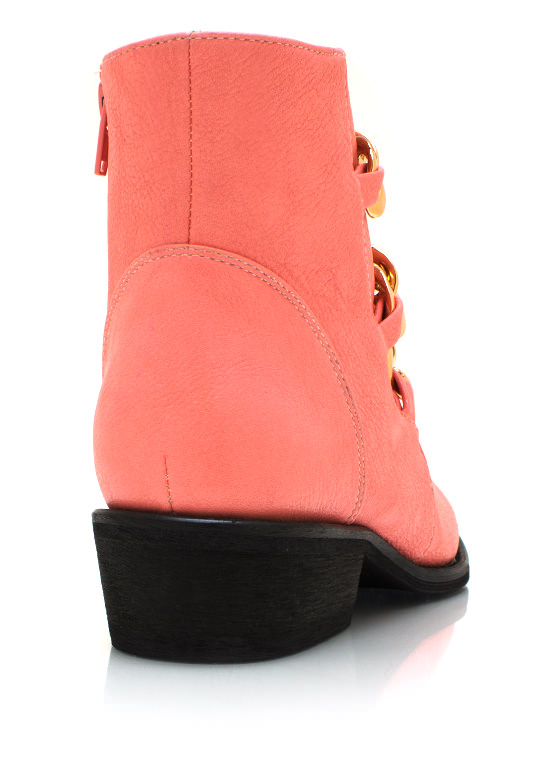 Chunky Chain Cowgirl Boots CORAL