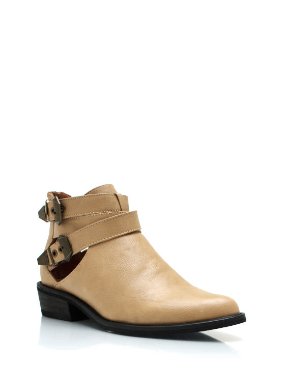 Cut It Out Buckle Boots CAMEL