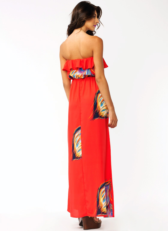Peacock Strut Ruffle Maxi Dress RED
