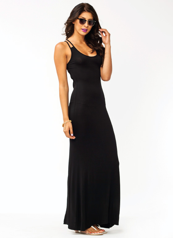 Open Up Strappy Maxi Dress BLACK