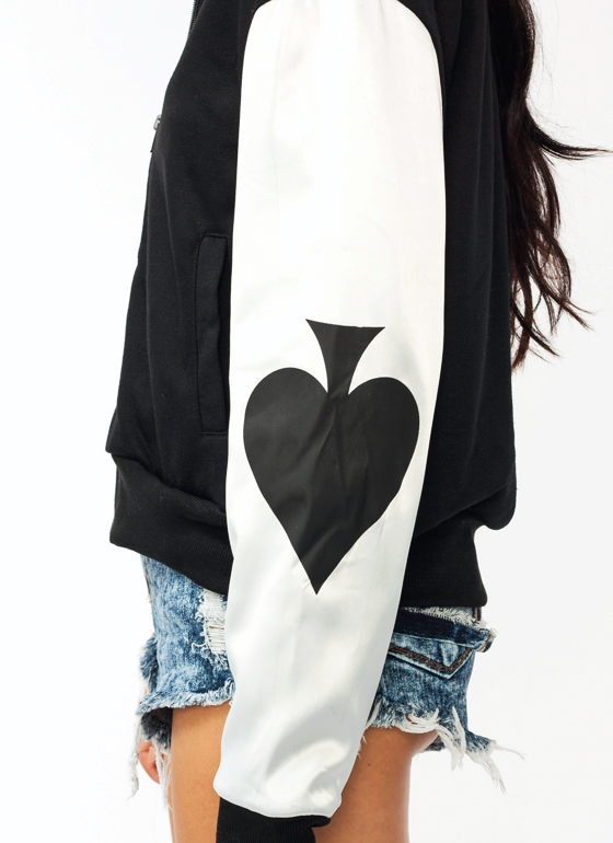 Poker Face Bomber Jacket BLACK
