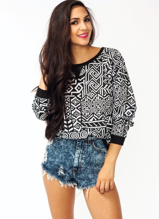 Tribal Sweater BLACKWHITE