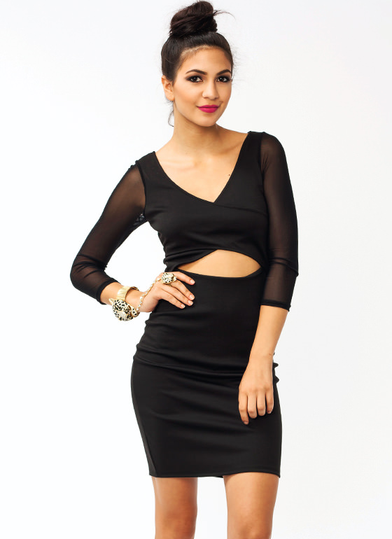 Meshy Criss Cross Dress BLACK