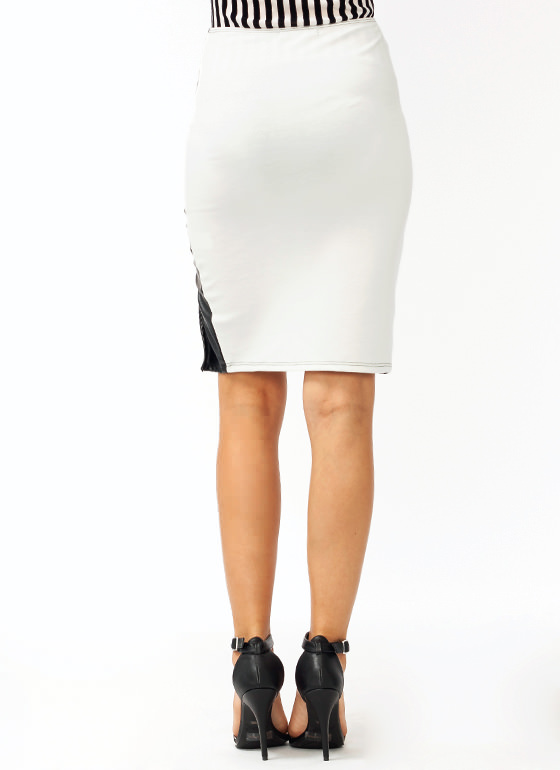 Curved Contrast Pencil Skirt BLACKIVORY
