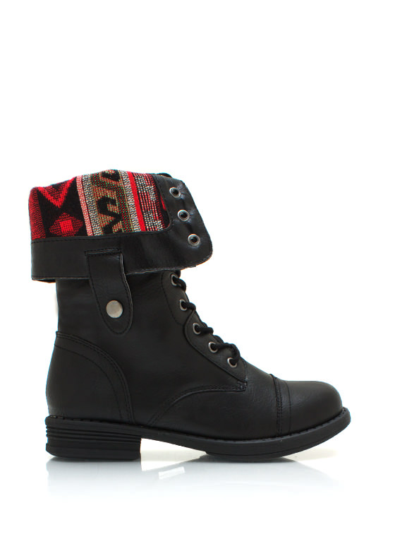 Southwestern Lace Up Combat Boots BLACK