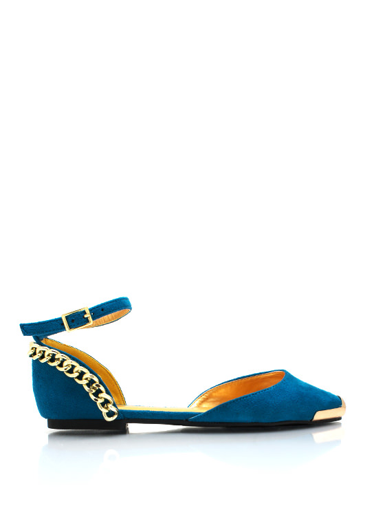 Steel Toe Chain Trim Flats TURQUOISE (Final Sale)