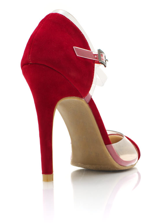 Clear The Way Pointy Toe Pvc Heels RED