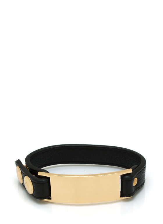 Into Metal Faux Leather Bracelet BLACKGOLD