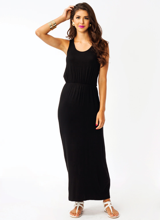 Stitched Biker Maxi Dress BLACK
