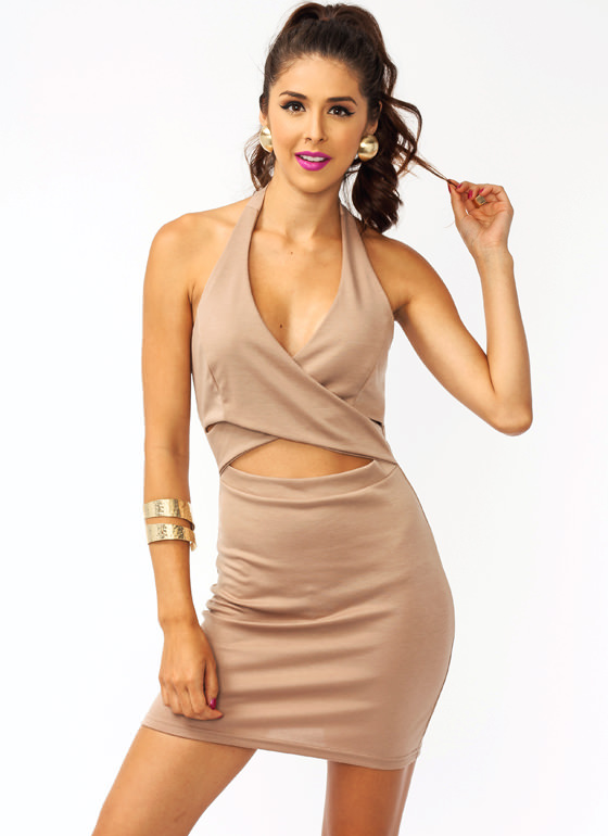 Crisscross Surplice Dress TAUPE