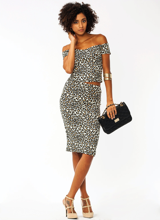 $2 Jungle Cat Pencil Skirt BROWN