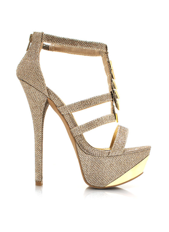 Going For Glitter Strappy Heels CHAMPAGNE