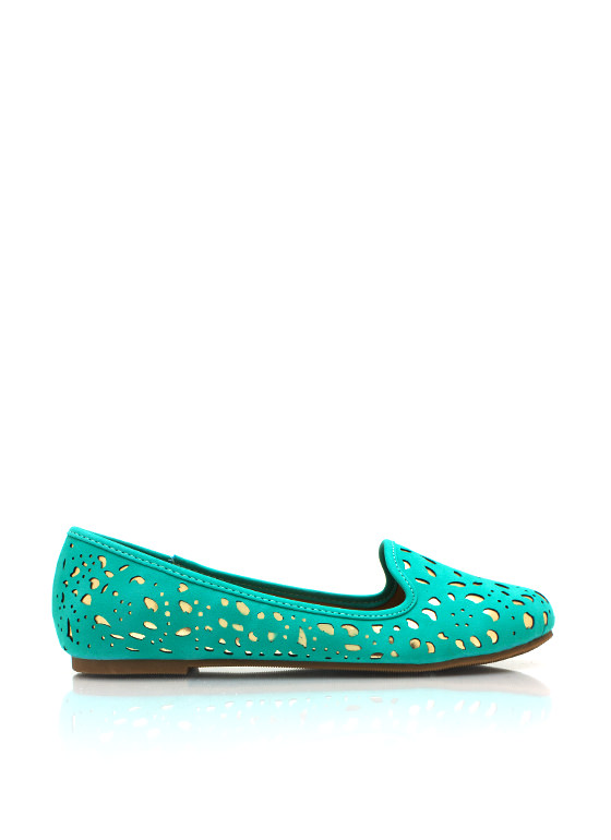 Cut Out Metallic Loafers GREEN