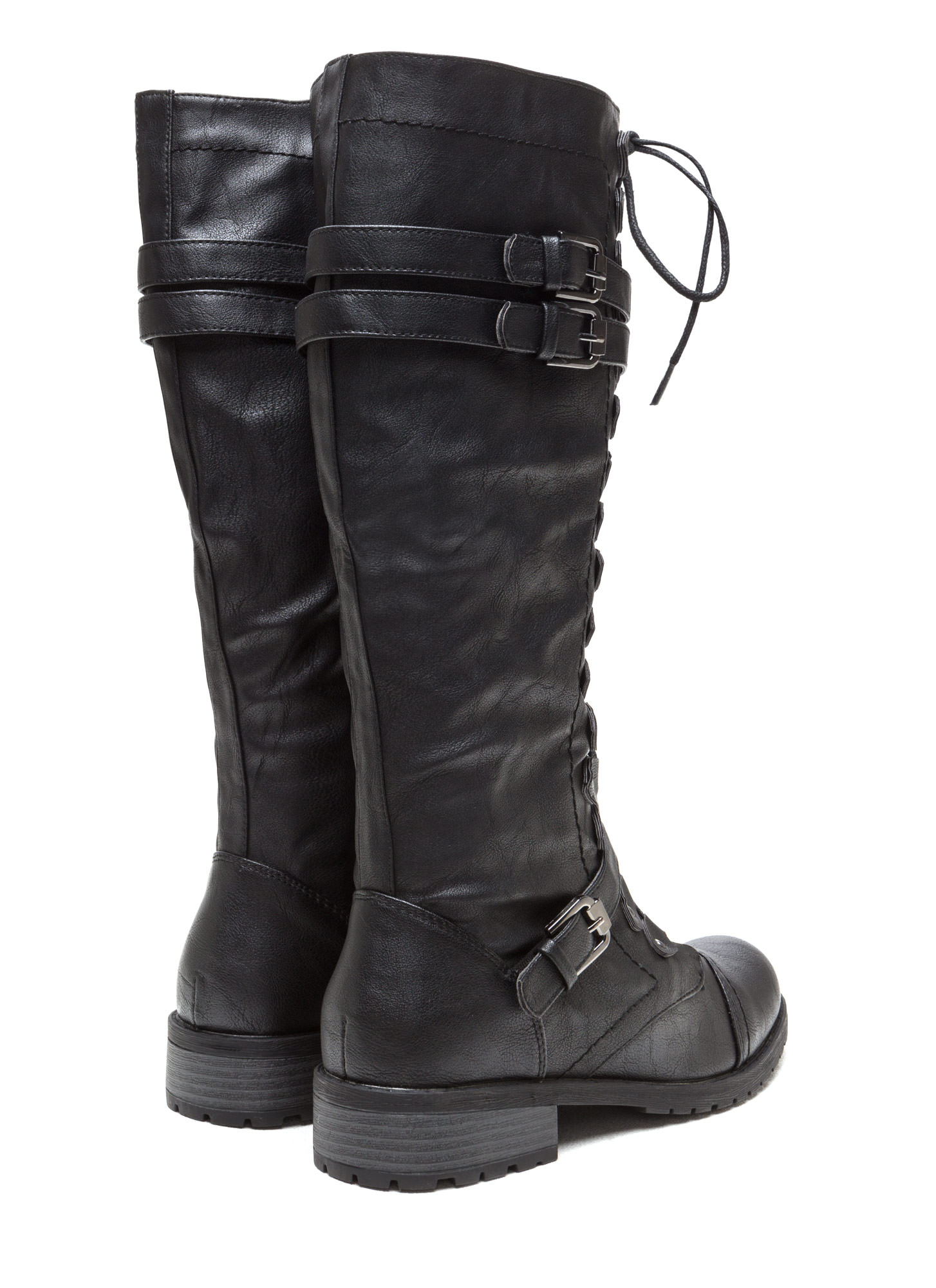 Double Buckle Faux Leather Boots BLACK