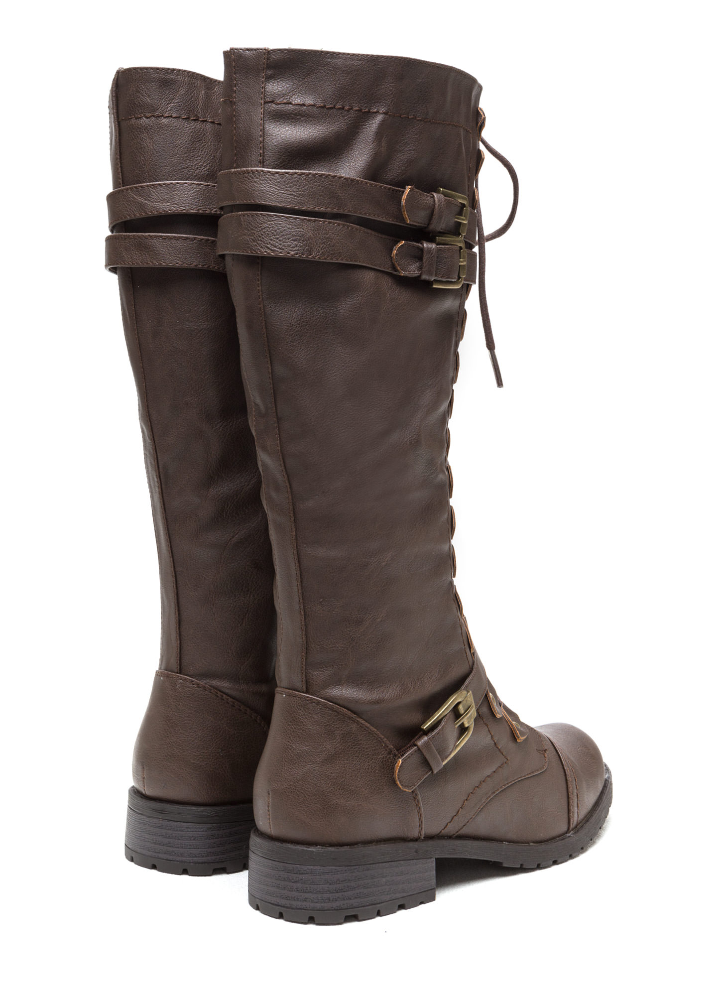 Double Buckle Faux Leather Boots BROWN