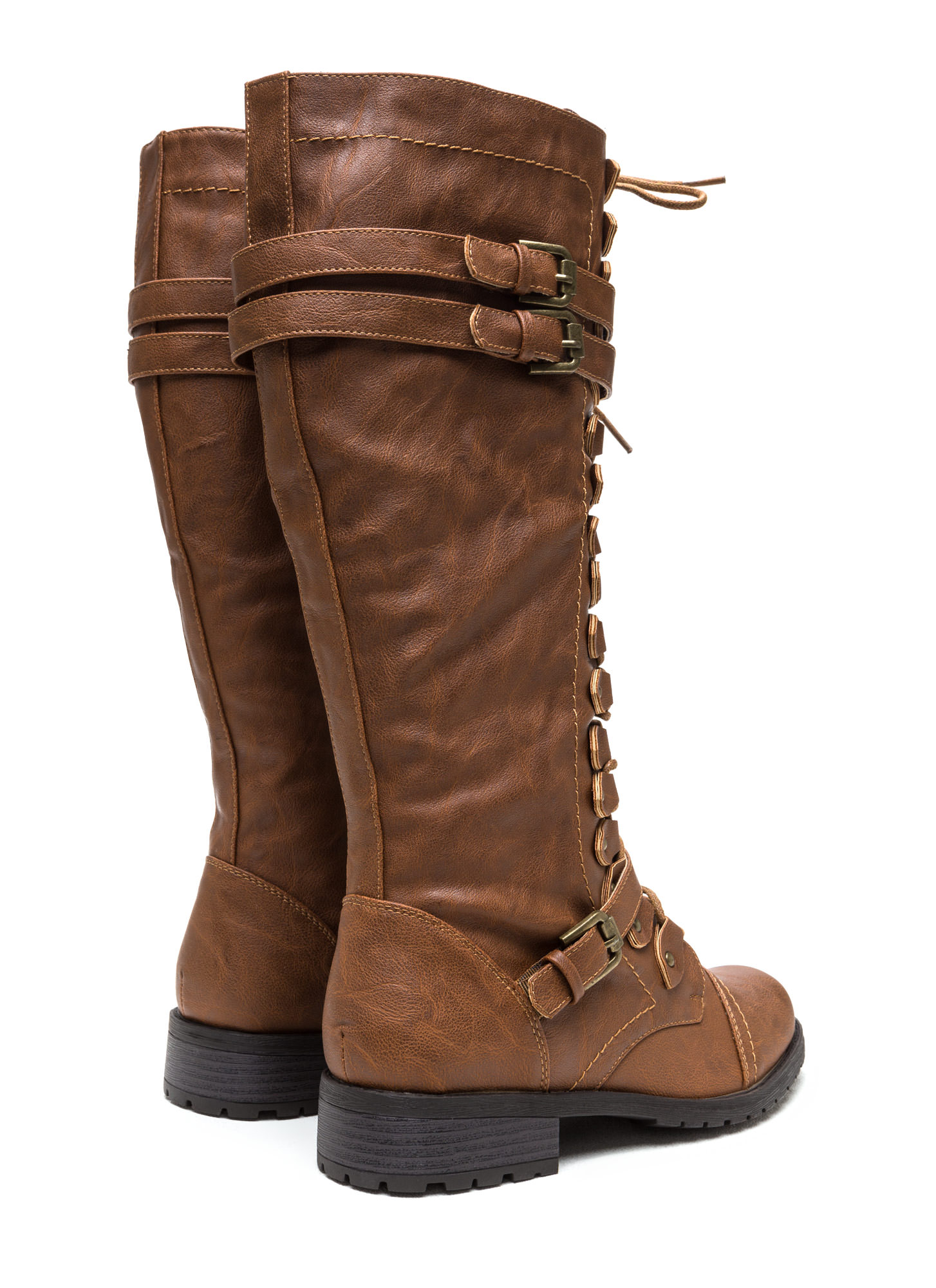 Double Buckle Faux Leather Boots COGNAC