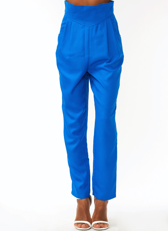 Pleated High Waisted Trousers BLUE
