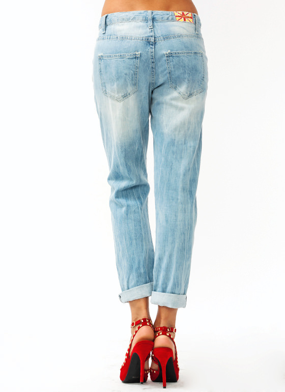 Distressed Boyfriend Jeans LTBLUE