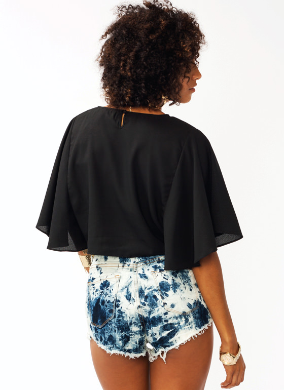 Flutter Sleeve Cropped Top BLACK