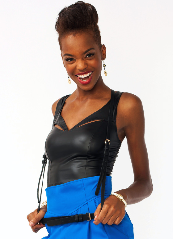 Belted Faux Leather Suspenders BLACK