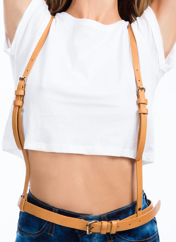 Belted Faux Leather Suspenders CAMEL