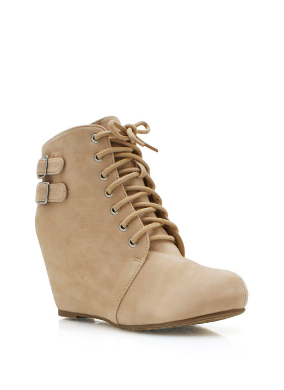 Double Buckle Wedge Booties NUDE