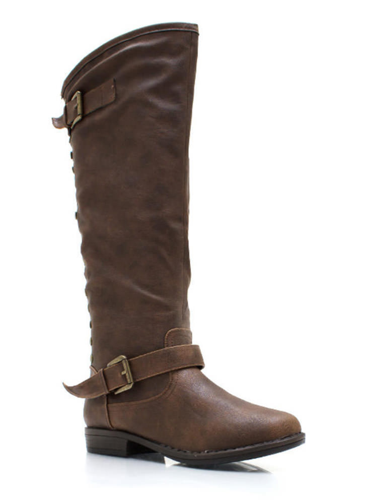 Metal Stud Muffin Riding Boots BROWN