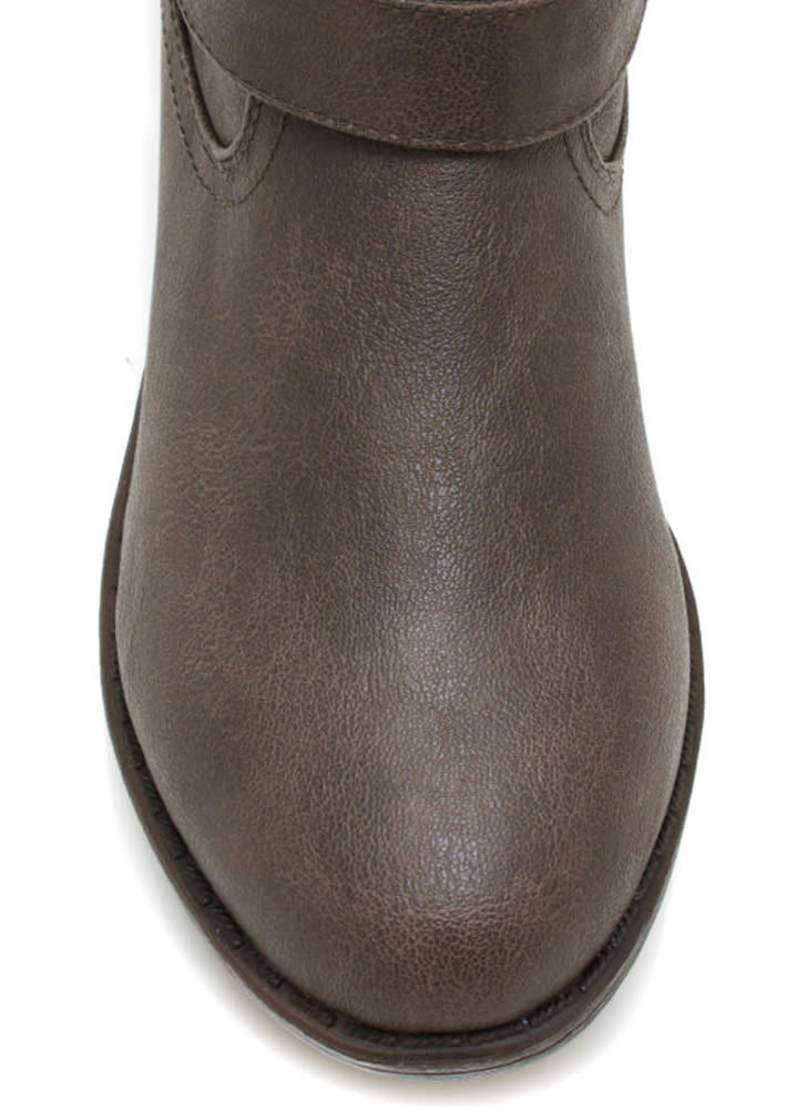 Metal Stud Muffin Riding Boots TAUPE