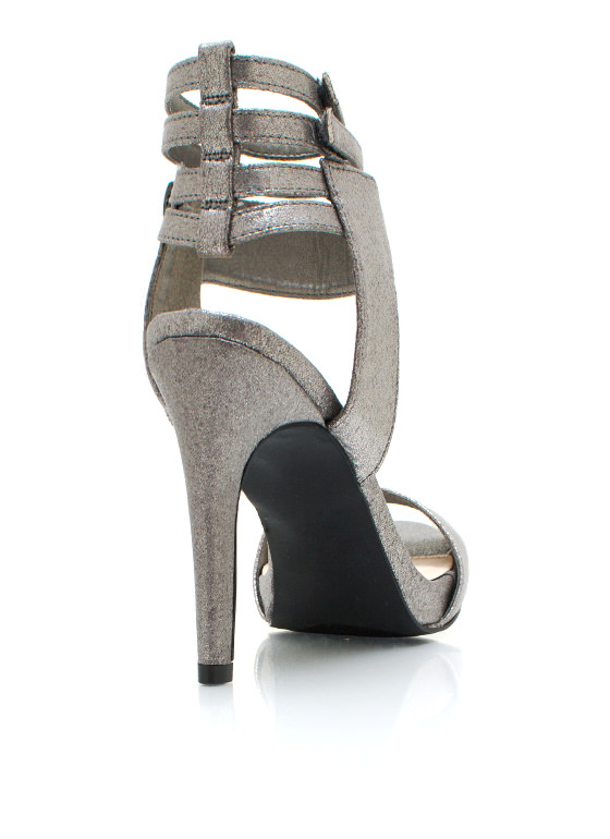 Strappy Trio Metallic Heels PEWTER