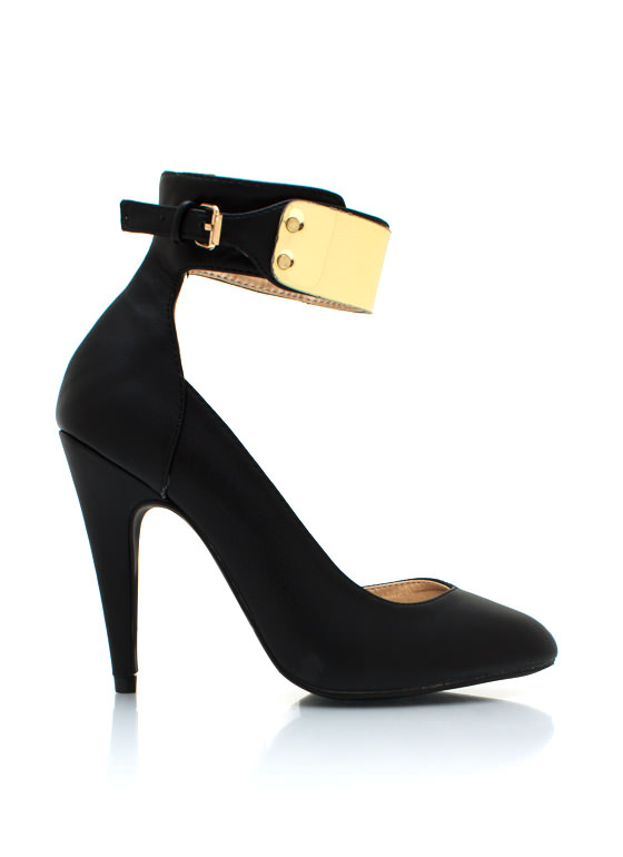 Metallic Plate Ankle Strap Heels BLACK
