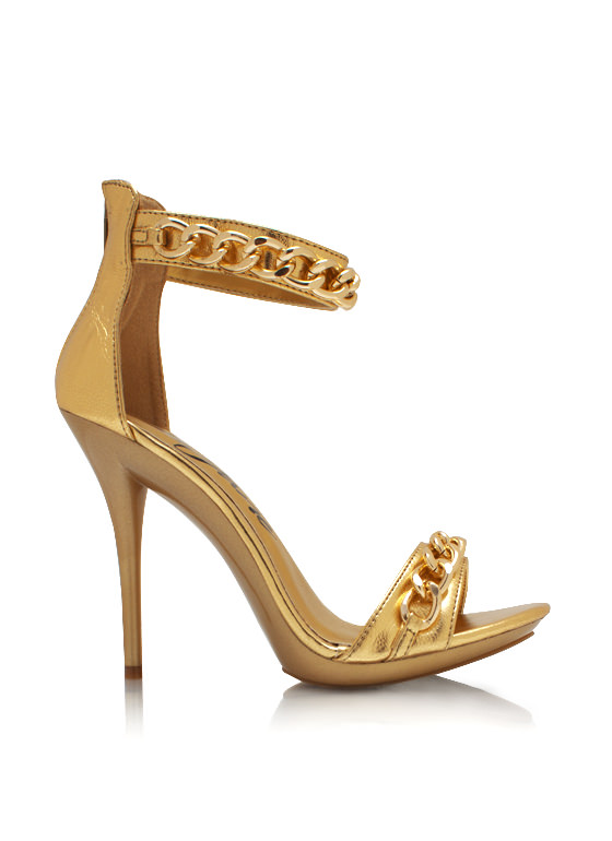 Chain Game Metallic Heels GOLD