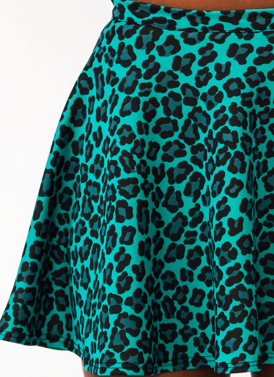 Jungle Cat Skater Skirt GREEN (Final Sale)