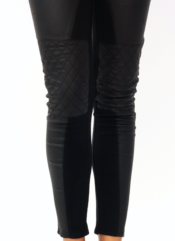 Coated Quilted Pants BLACK