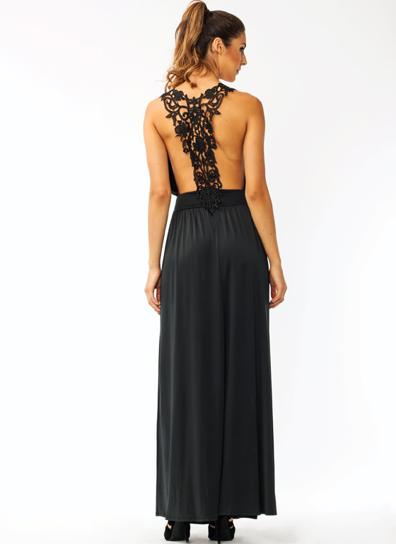 Hey Crochet Slit Maxi Dress BLACK
