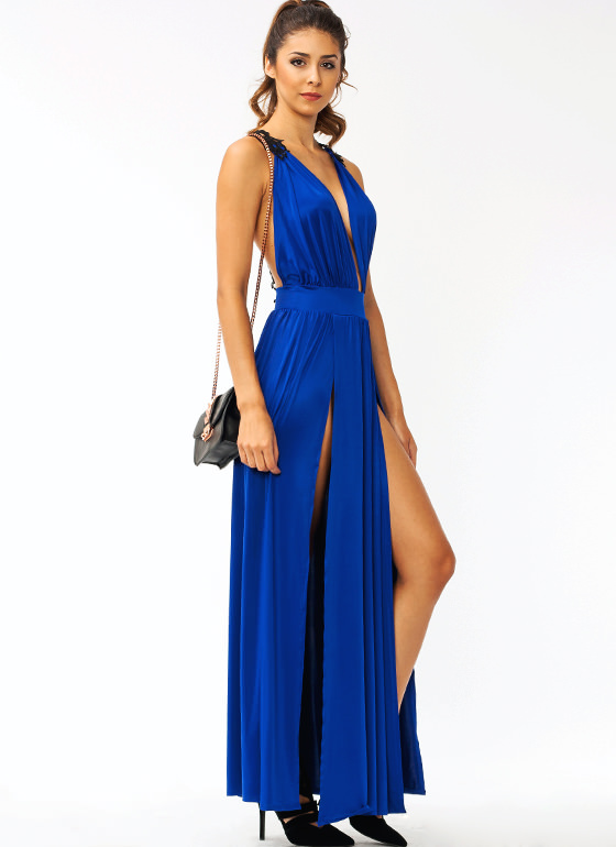 Hey Crochet Slit Maxi Dress ROYAL