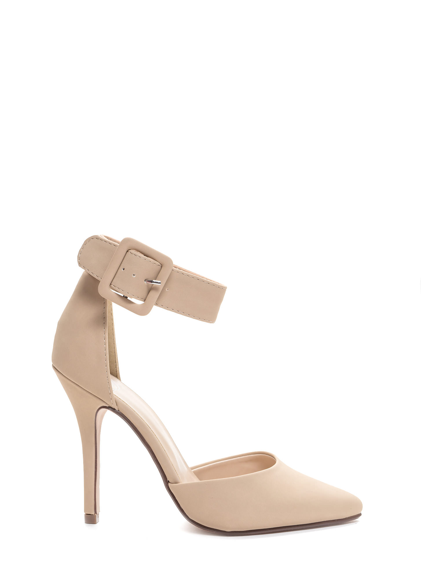 Buckle Up Pointy Toe Pumps BEIGE