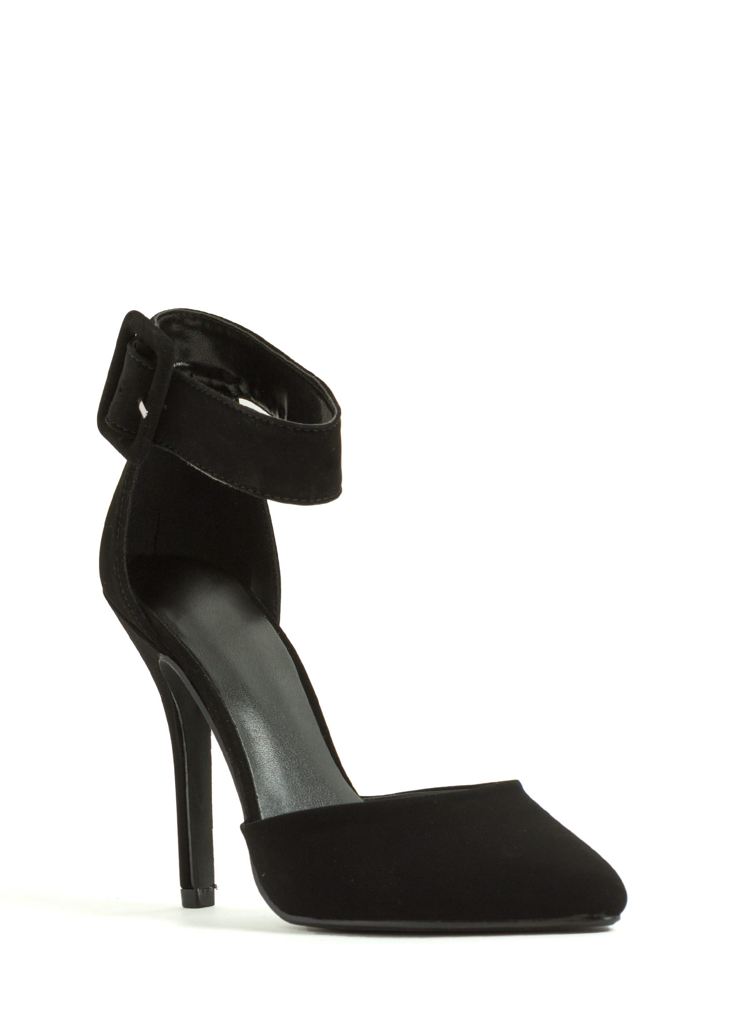 Buckle Up Pointy Toe Pumps BLACK