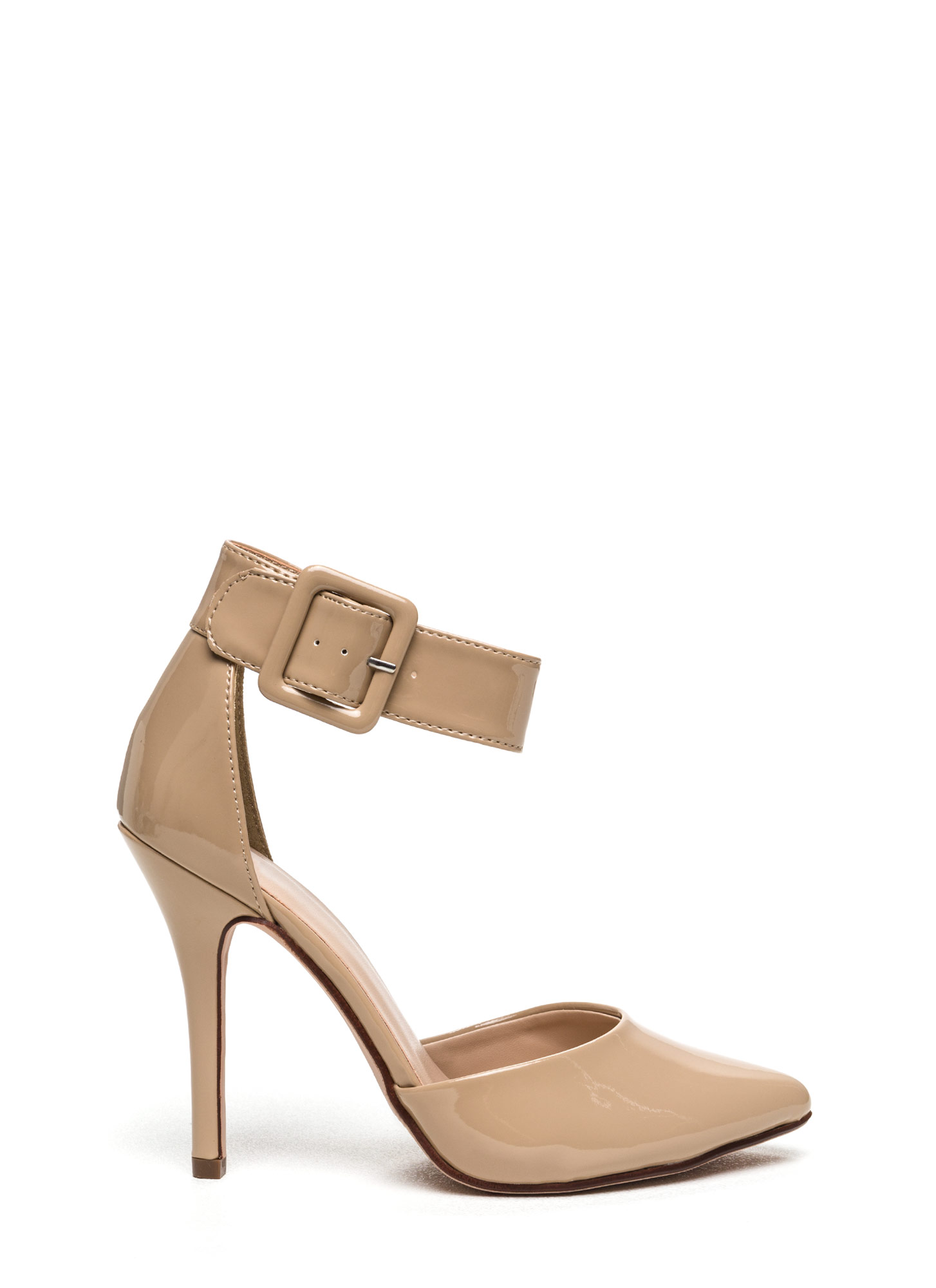 Buckle Up Pointy Toe Pumps DKBEIGE