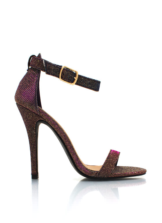 Star Dust Simple Strappy Heels PURPLE