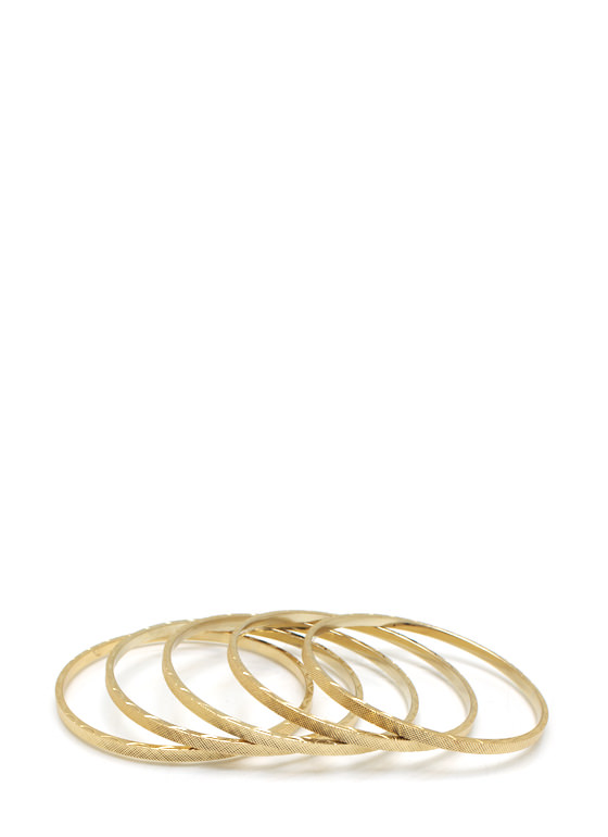 Basic Textured Bangle Set GOLD